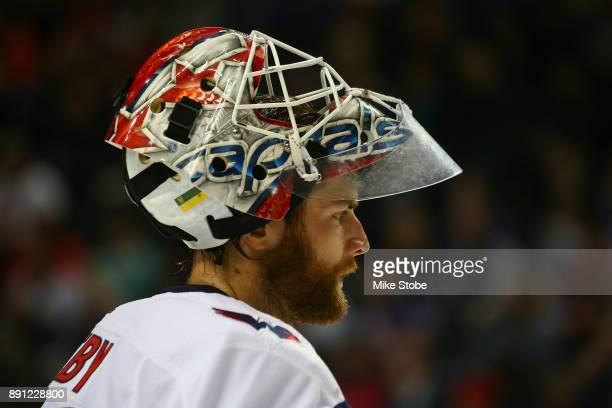 Braden Holtby of the Washington Capitals skates against the New York Islanders at Barclays Center on December 11 2017 in New York City New York...