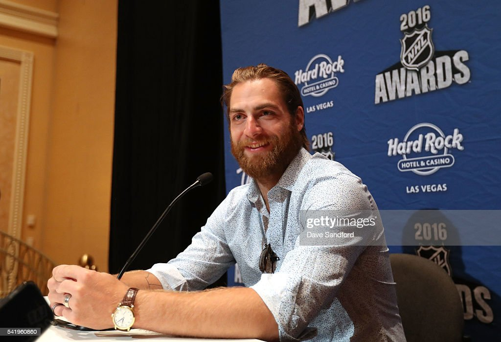 Braden Holtby of the Washington Capitals speaks with the media during a press availability at the Encore Ballroom on June 21, 2016 in Las Vegas, Nevada.