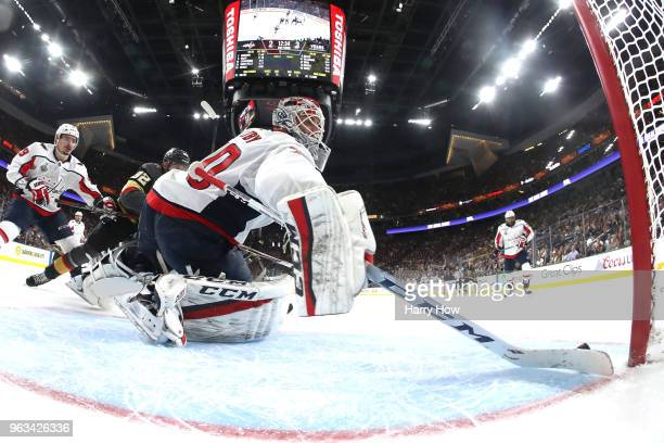 Braden Holtby of the Washington Capitals stops a shot against the Vegas Golden Knights during the second period in Game One of the 2018 NHL Stanley...