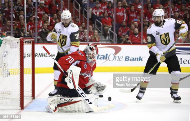 Braden Holtby of the Washington Capitals stops a shot against the Vegas Golden Knights during the third period in Game Three of the 2018 NHL Stanley...