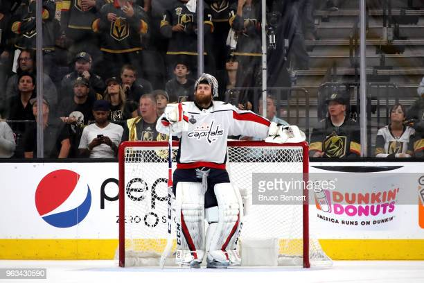 Braden Holtby of the Washington Capitals takes a breather against the Vegas Golden Knights during the third period in Game One of the 2018 NHL...