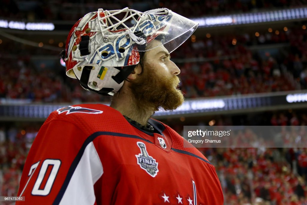 Braden Holtby #70 of the Washington Capitals takes a breather during a time-out against the Vegas Golden Knights during the third period in Game Four of the 2018 NHL Stanley Cup Final at Capital One Arena on June 4, 2018 in Washington, DC.