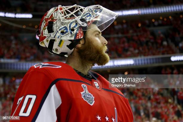 Braden Holtby of the Washington Capitals takes a breather during a timeout against the Vegas Golden Knights during the third period in Game Four of...