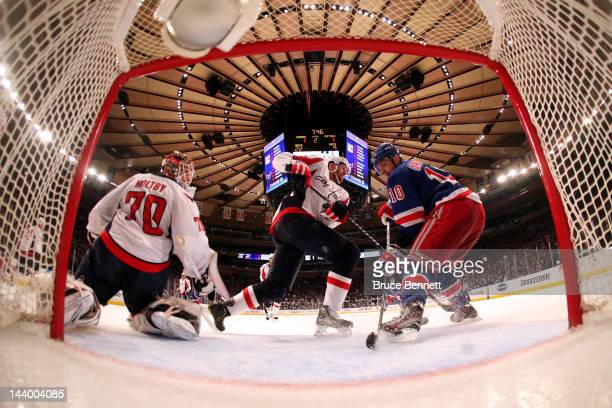 Braden Holtby of the Washington Capitals tends goal against Marian Gaborik of the New York Rangers in Game Five of the Eastern Conference Semifinals...