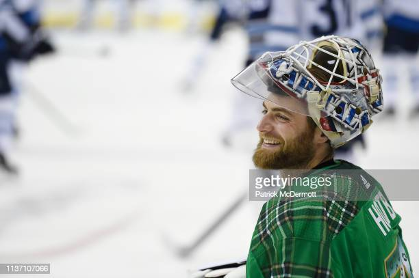 Braden Holtby of the Washington Capitals warms up before a game against the Winnipeg Jets at Capital One Arena on March 10 2019 in Washington DC