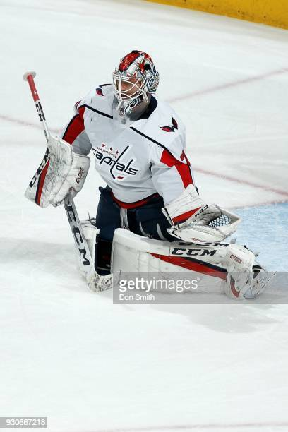 Braden Holtby of the Washington Capitols looks on during warmup prior to a game against the San Jose Sharks at SAP Center on March 10 2018 in San...