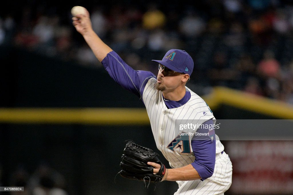 Braden Shipley #34 of the Arizona Diamondbacks delivers a pitch in the ninth inning of the MLB game against the Colorado Rockies at Chase Field on September 14, 2017 in Phoenix, Arizona.