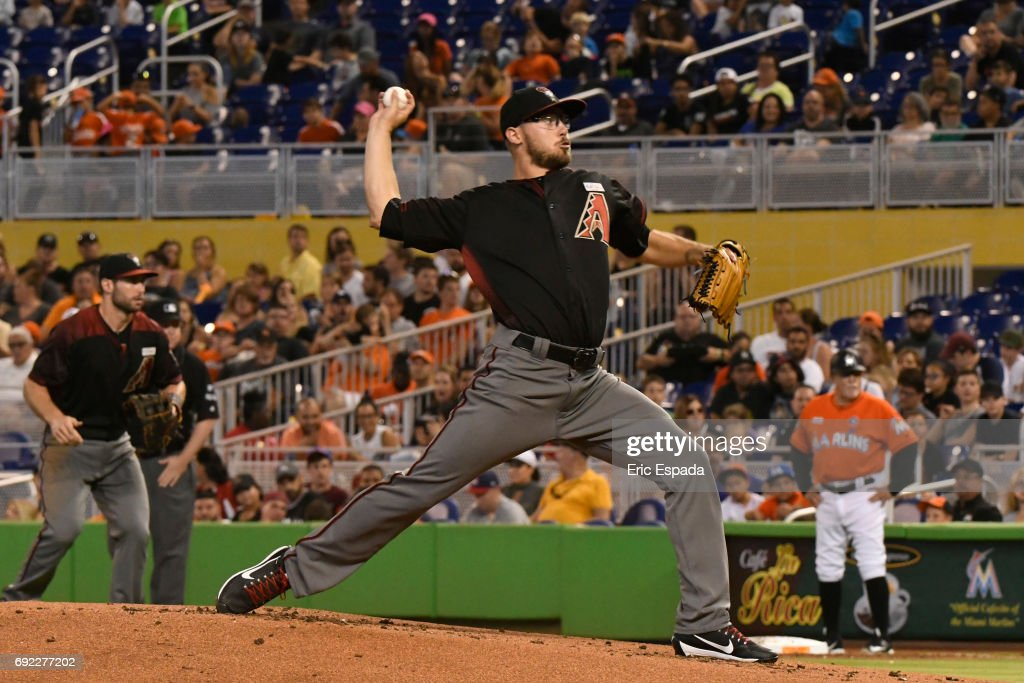 Braden Shipley #34 of the Arizona Diamondbacks throws a pitch in the first inning against the Miami Marlins at Marlins Park on June 4, 2017 in Miami, Florida.
