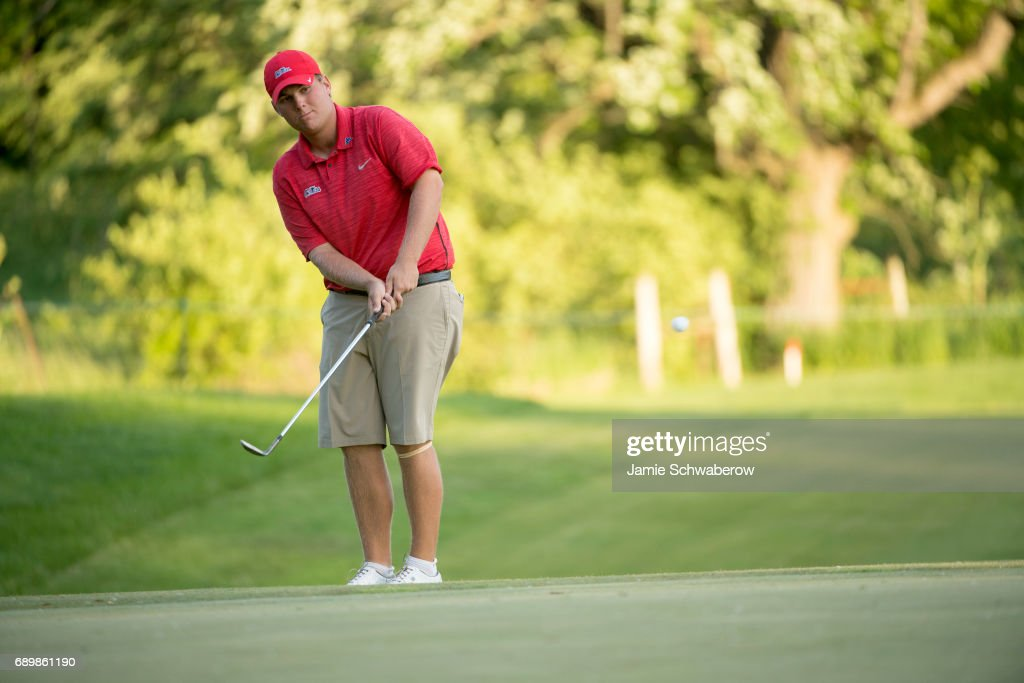 Braden Thornberry of Ole Miss chips onto the 18th green during the Division I Men's Golf Individual Championship held at Rich Harvest Farms on May 29, 2017 in Sugar Grove, Illinois. Thornberry won the individual national title with a -11 score.