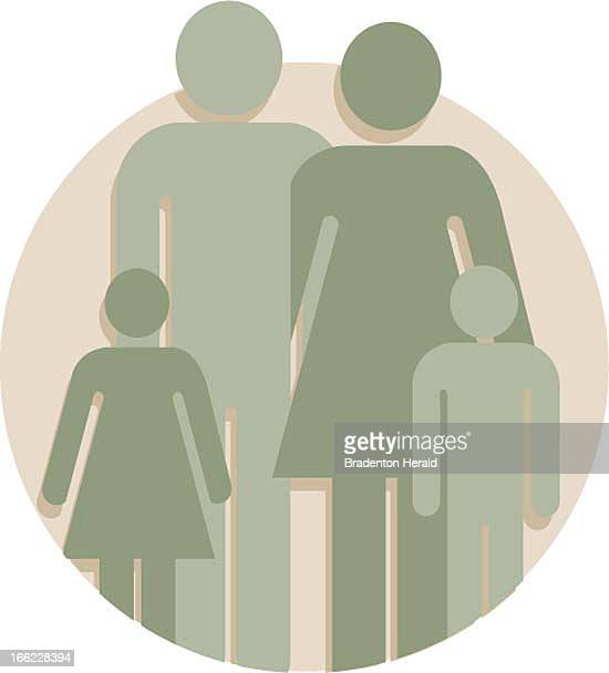 Bradenton Herald Staff color illustration of icon for family green silhouettes of two adults and two children