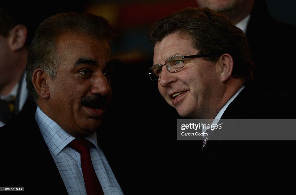 Bradford Bulls owners Omar Khan and Gerry Sutcliffe during Rugby League pre-season friendly between Leeds Rhinos and Bradford Bulls at Headingley Stadium on January 20, 2013 in Leeds, England.