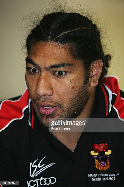Bradford Bulls player Lesley Vainikolo talks to the media during the Tetleys Super League Grand Final Press Conference at Old Trafford on October 11...
