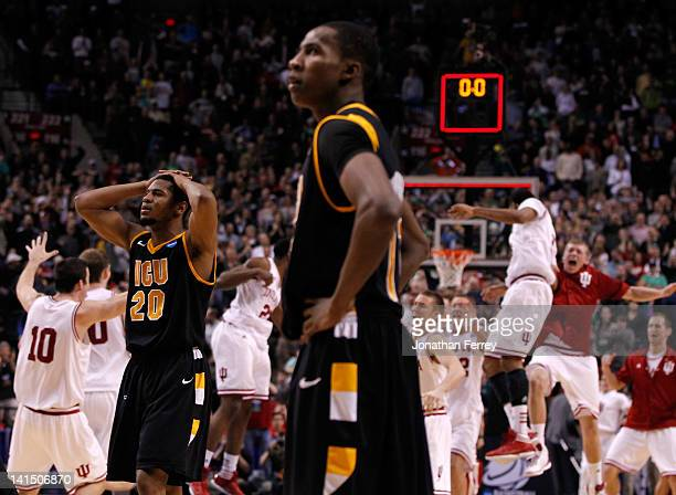 Bradford Burgess and Rob Brandenberg of the Virginia Commonwealth Rams react after losing to the Indiana Hoosiers 63-61 during the third round of the...