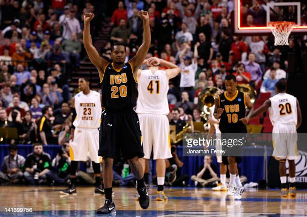 Bradford Burgess of the Virginia Commonwealth Rams reacts after defeating the Wichita State Shockers 62-59 in the second round of the 2012 NCAA men's...