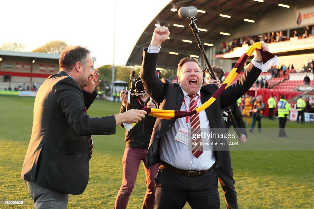 Bradford City co-owners and joint-chairmen Edin Rahic (left) Stefan Rupp celebrate victory in the Sky Bet League One Playoff Semi Final: First Leg match between Fleetwood Town and Bradford City at Highbury Stadium on May 7, 2017 in Fleetwood, England.
