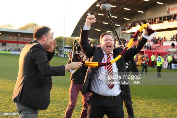Bradford City coowners and jointchairmen Edin Rahic Stefan Rupp celebrate victory in the Sky Bet League One Playoff Semi Final First Leg match...