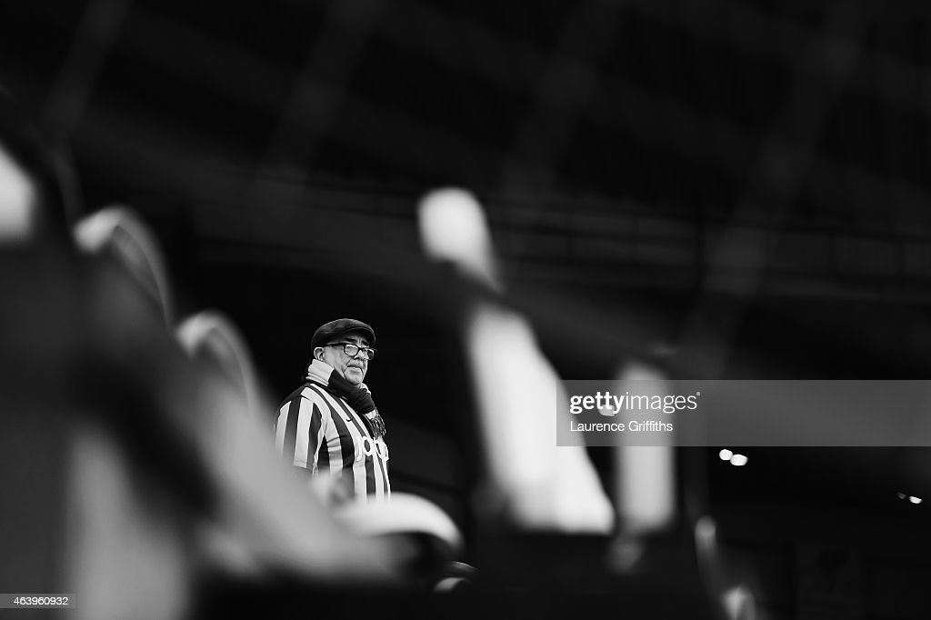 A Bradford City fan looks on prior to the FA Cup Fifth Round match between Bradford City and Sunderland at Coral Windows Stadium, Valley Parade on February 15, 2015 in Bradford, England.