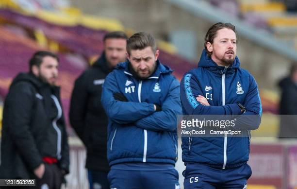 Bradford City joint manager Conor Sellars and manager Mark Trueman watch on during the Sky Bet League Two match between Bradford City and Bolton...