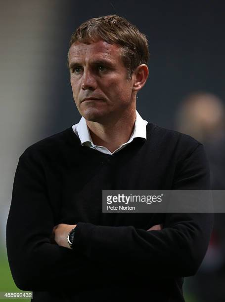 Bradford City manager Phil Parkinson looks on during the Capital One Cup Third Round match between MK Dons and Bradford City at Stadium mk on...