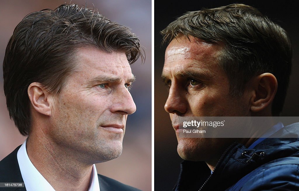IMAGES - a comparison has been made between Michael Laudrup (L) and Phil Parkinson. Original image ids are 153538325, 159924672) (FILE PHOTO) In this composite image a comparison has been made between Managers Michael Laudrup of Swansea City (L) and Phil Parkinson of Bradford City. League Two side Bradford City will take on Premier League side Swansea City in the Capital One Cup Final at Wembley Stadium in London on Sunday 24 February, 2013. BIRMINGHAM, ENGLAND - JANUARY 22: Bradford City Manager Phil Parkinson looks on prior to the Capital One Cup Semi-Final Second Leg between Aston Villa and Bradford City at Villa Park on January 22, 2013 in Birmingham, England.