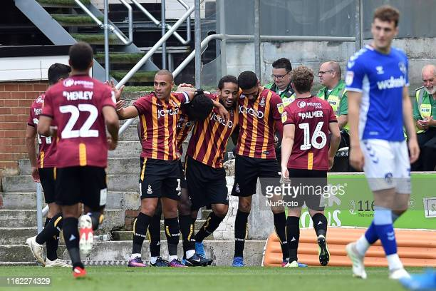 Bradford City's Clayton Donaldson celebrates scoring his sides second goal during the Sky Bet League 2 match between Bradford City and Oldham...