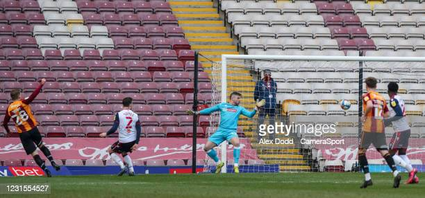 Bradford City's Danny Rowe scores his side's equalising goal to make the score 1-1 during the Sky Bet League Two match between Bradford City and...