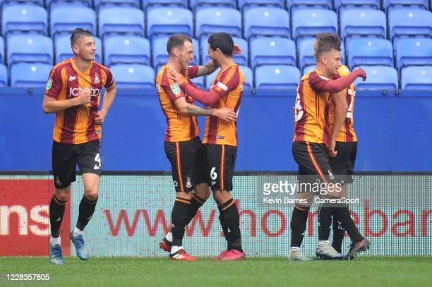 Bradford City's Harry Pritchard celebrates scoring his side's second goal with team-mate Anthony O'Connor during the Carabao Cup First Round match...