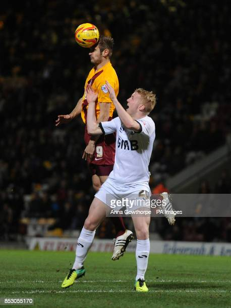 Bradford City's James Hanson and Port Vale's Jack Grimmer in action during the Sky Bet League One match at the Coral Windows Stadiums Bradford
