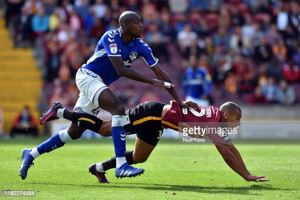 Bradford City's James Vaughan and Oldham Athletic's Mohamed Sylla in action during the Sky Bet League 2 match between Bradford City and Oldham...