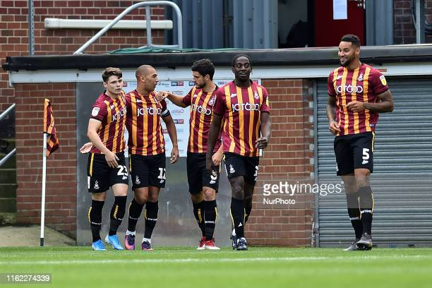 Bradford City's James Vaughan celebrates scoring his sides opening goal during the Sky Bet League 2 match between Bradford City and Oldham Athletic...