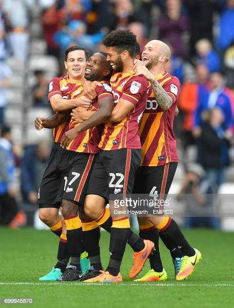 Bradford City's Mark Marshall knows how to celebrate after scoring his team's 2nd goal