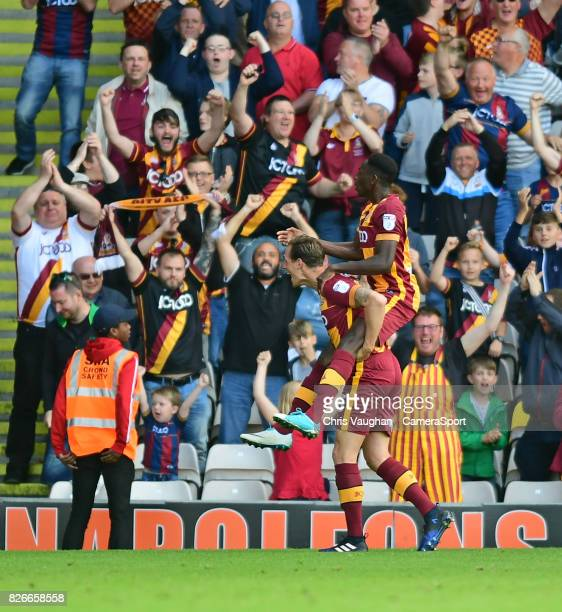 Bradford City's Omari Patrick right celebrates scoring his side's second goal with teammate Matthew Kilgallon during the Sky Bet League One match...