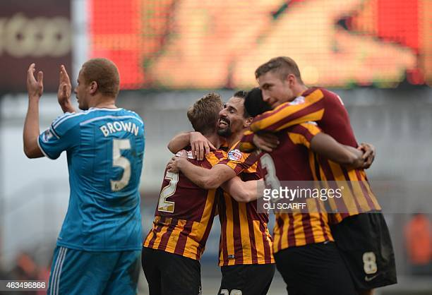 Bradford City's players celebrate on the pitch after the FA Cup fifth round football match between Bradford City and Sunderland at The Coral Windows...