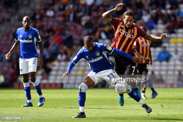 Bradford City's Sean Scannell and Oldham Athletic's Gevaro Nepomuceno in action during the Sky Bet League 2 match between Bradford City and Oldham...