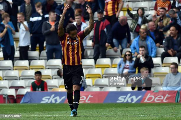 Bradford City's Sean Scannell celebrates scoring his sides third goal during the Sky Bet League 2 match between Bradford City and Oldham Athletic at...