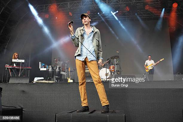 Bradford Cox Moses Archuleta and Josh McKay of Deerhunter performs on day 1 of Field Day festival on June 11 2016 in London England