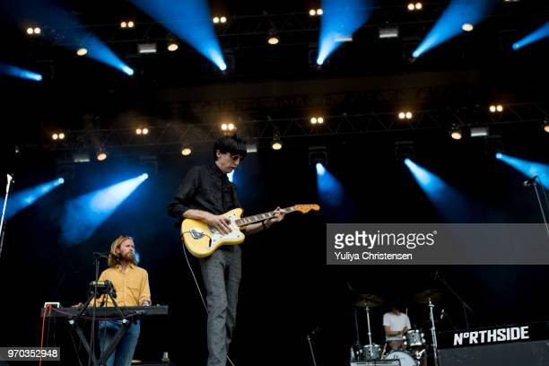 Bradford Cox Moses Archuleta and Josh McKay of Deerhunter performs onstage at the Northside Festival on June 9 2018 in Aarhus Denmark