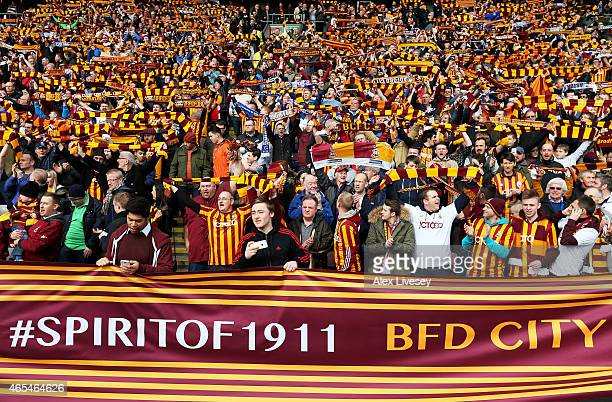 Bradford fans cheer on their team during the FA Cup Quarter Final match between Bradford City and Reading at the Coral Windows Stadium Valley Parade...