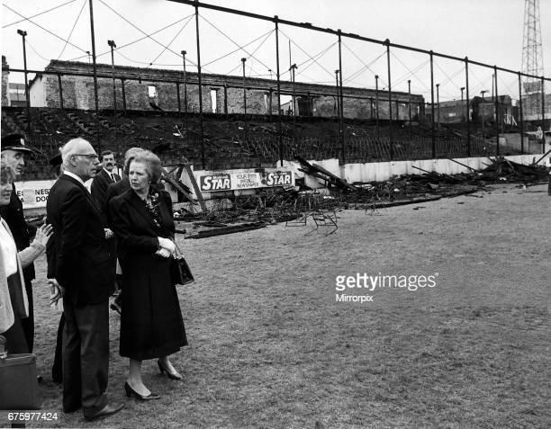 Bradford Football Ground Fire 1985 Margaret Thatcher Prime Minister visits Bradford Fire Disaster scene with her husband Dennis.