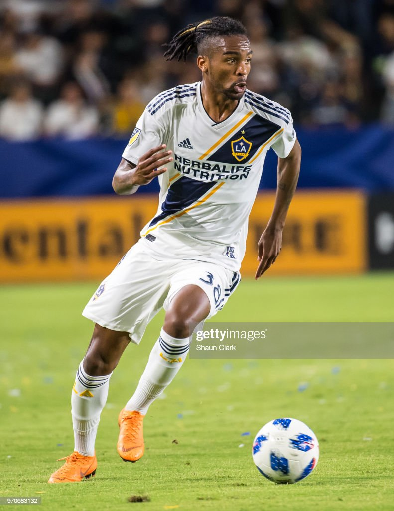 Bradford Jamieson IV #38 of Los Angeles Galaxy during the Los Angeles Galaxy's MLS match against FC Dallas at the StubHub Center on June 9, 2018 in Carson, California. Los Angeles Galaxy won the match 3-0