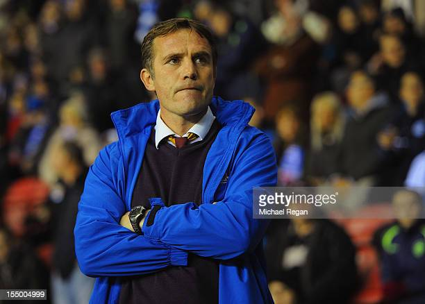 Bradford manager Phil Parkinson looks on during the Capital One Cup Fourth Round match between Wigan Athletic and Bradford City at the DW Stadium on...