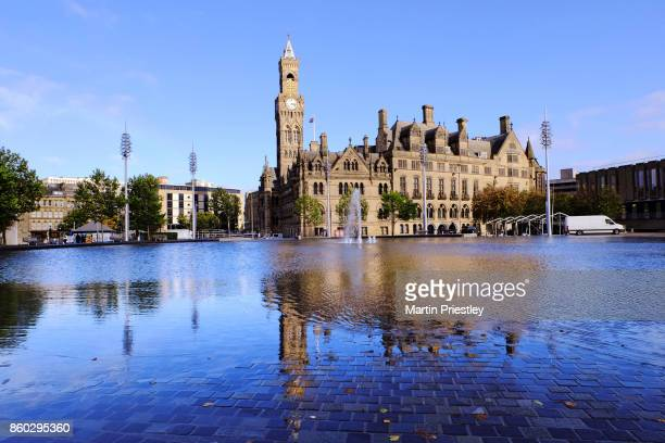 Bradford town hall and the city park in Bradford, West Yorkshire, UK
