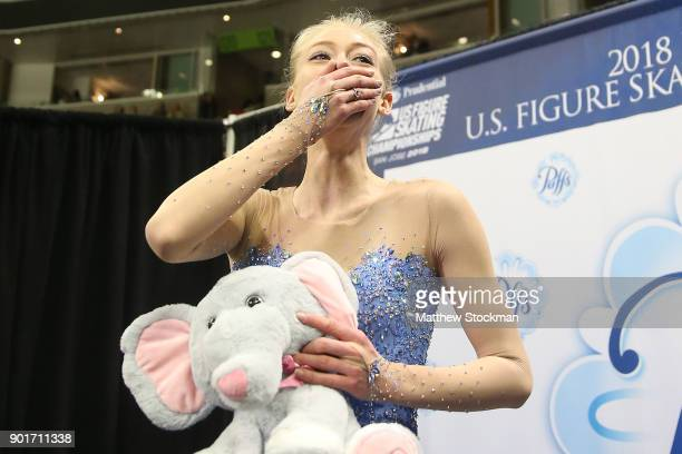 Bradie Tennell celebrates in the kiss and cry after the Ladies Free Skate during the 2018 Prudential US Figure Skating Championships at the SAP...