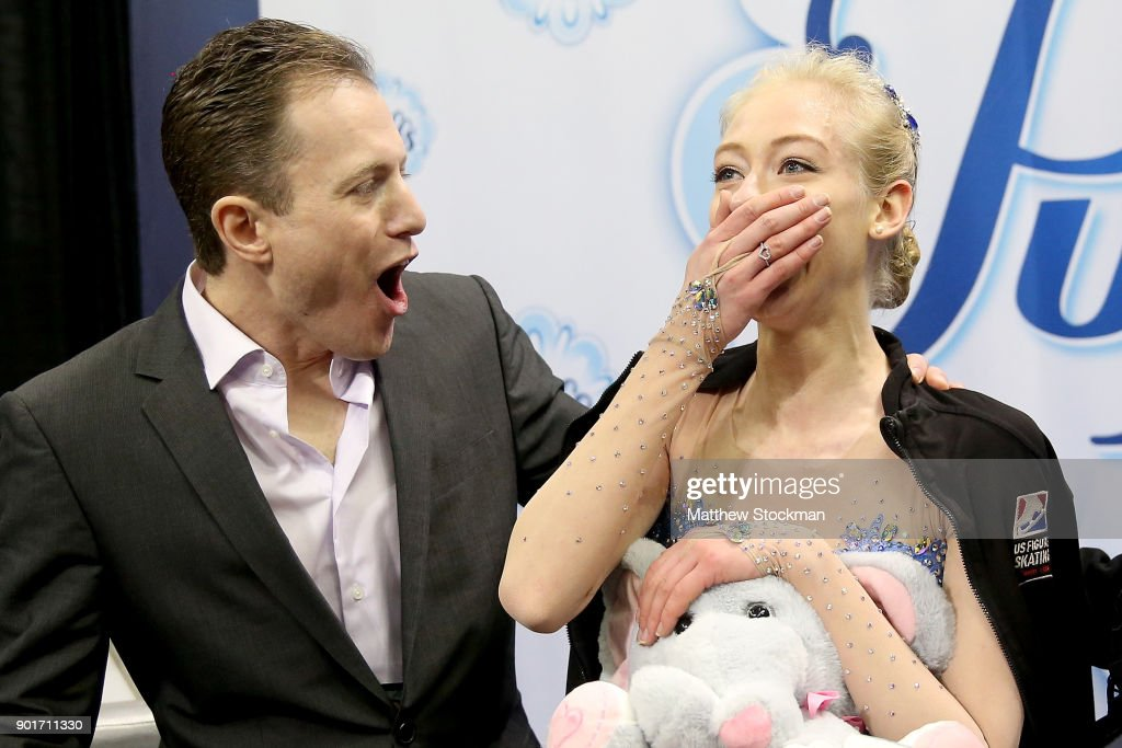 Bradie Tennell celebrates in the kiss and cry with coach Jeremy Allen after the Ladies Free Skate during the 2018 Prudential U.S. Figure Skating Championships at the SAP Center on January 5, 2018 in San Jose, California.