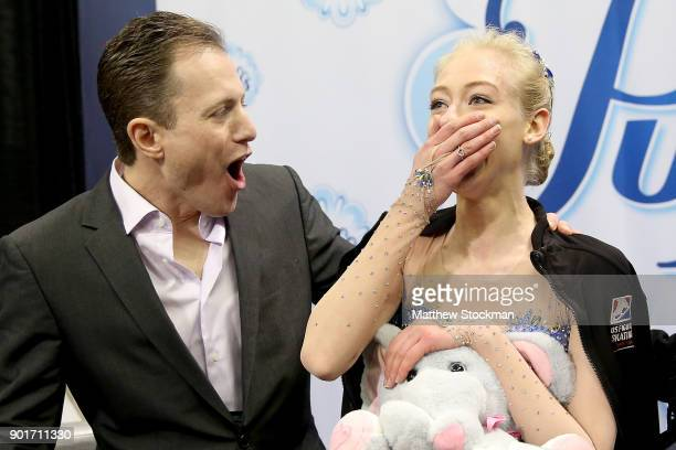 Bradie Tennell celebrates in the kiss and cry with coach Jeremy Allen after the Ladies Free Skate during the 2018 Prudential US Figure Skating...