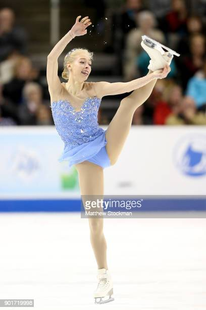 Bradie Tennell competes in the Ladies Free Skate during the 2018 Prudential US Figure Skating Championships at the SAP Center on January 5 2018 in...