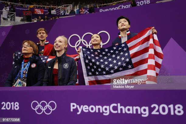 Bradie Tennell of the United States awaits her score as Maia Shibutani and Alex Shibutani look on in the Figure Skating Team Event – Ladies' Short...