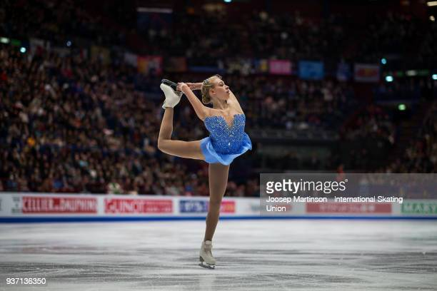 Bradie Tennell of the United States competes in the Ladies Free Skating during day three of the World Figure Skating Championships at Mediolanum...