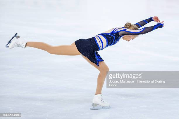 Bradie Tennell of the United States competes in the Ladies Short Program during day 1 of the ISU Grand Prix of Figure Skating Internationaux de...