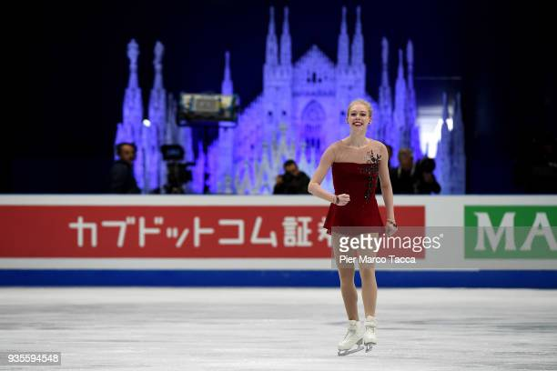 Bradie Tennell of the United States competes in the Ladies Short Program on day one of the World Figure Skating Championships at the Mediolanum Forum...